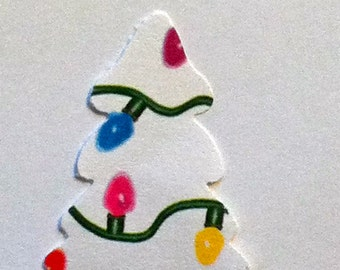 50 white CHRISTMAS TREE with colorful bulbs Hand Punched Die Cuts Confetti, Birthday party Invitations,scrapbooking, cards