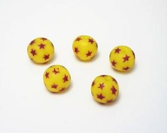 Star beads, 5 Handmade beads, Polymer clay beads, Artisan beads, Round star beads, Yellow beads, Jewellery beads, Jewellery making supplies.