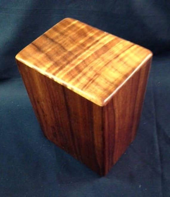 """Large Curly Hawaiian Koa Wooden Memorial Cremation Urn... 7""""wide x 5""""deep x 9""""high Wood Adult Cremation Urn handmade in Hawaii LK081017B"""