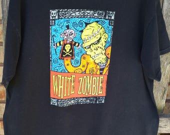 Vintage White Zombie TShirt Hand Puppet aBiZWoEGA
