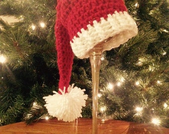 Crochet christmas hat for baby, toddler; christmas photo prop, crochet christmas santa hat, Winter hat for baby, Elf stocking hat