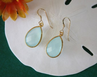 Seafoam Green Teardrop Earrings Gold Small, Chalcedony, Bright Earrings, Small, Tear Drop Gemstone, Dangle Earrings