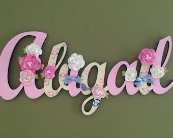 Custom Kids Name Sign - Nursery Wall Letters Name Sign - Wood Wall Letters Cursive Style 7 Letter Name