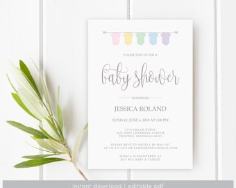 Baby Shower Invitation Printable, Gender Neutral, PDF Baby Shower Invite, Printable Invitation, Template, Editable, Baby, Instant Download