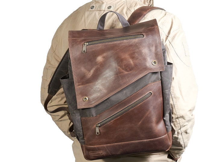 Canvas leather backpack for men. British waxed canvas, crazy horse leather.