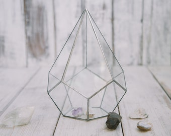 Teardrop Glass Terrarium, Terrarium, Geometric Glass , Planter, Crystal Garden, Amethyst ,Quartz