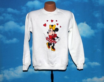 Minnie Mouse Heart Love White Sweatshirt Vintage 1990s