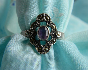 Silver Tourmaline and Marcasite ring