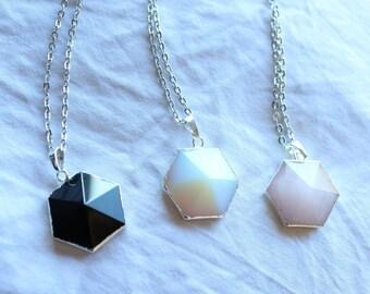 Gemstone pyramid Hexagon geometric silver necklace