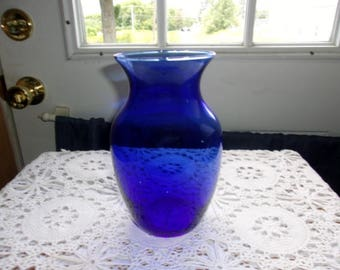 "Cobalt Blue Glass Flared Vase 8"" Tall"