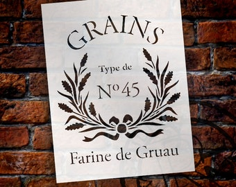 Vintage French Grain Sack Stencil - Select Size - STCL1427 - by StudioR12