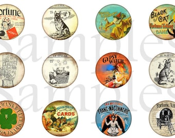 "Fortune Teller Magnets, Fortune Teller Pins, Carnival Show Magnets, Carnival Show Pins, 1"" Flat, Hollow Backs, Cabochons, 12ct"