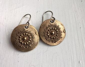 Handmade bronze India dot mandala earrings on sterling wires