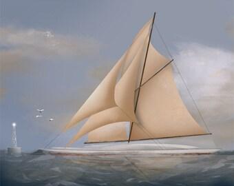 Full Sail - nautical sailing ship schooner art painting
