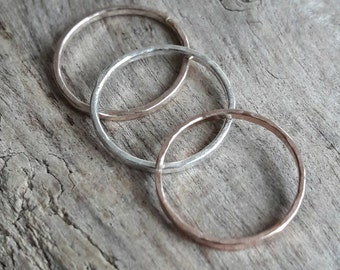 Set of Three Stacking Rings - Gold Fill Rings - Stacking Ring Sets - Rose Gold Rings - Yellow Gold Rings - Boho Rings - Hammered Stack Rings