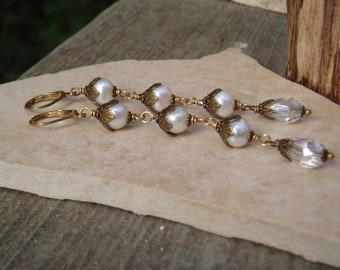 X-Long Victorian Style 8mm Round Tripple White FW Pearl Raw Brass Floral Flower Bead Caps Teardrop Crystal Bridal Lever Back Drop Earrings