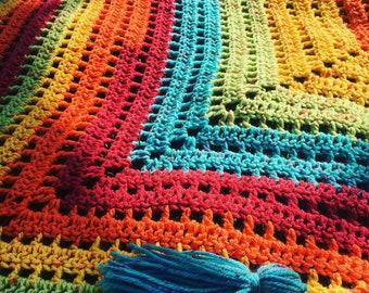 Summer shawl, rainbow shawl, crochet shawl, crochet wrap, summer wrap, rainbow, shawl with tassels