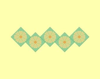 Yellow and Green Flower Border Cross Stitch Pattern PDF Digital Download