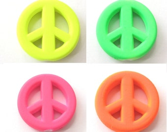 2 Acrylic peace sign rubber beads neon 20mm - Prettypretty Beads UK