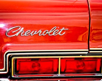 Red Chevrolet Lights and Lettering Car Photography, Automotive, Auto Dealer, Classic, Mechanic, Boys Room, Garage, Dealership Art