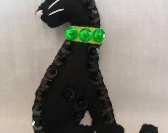 Felt Panther Brooch - Felt Jewellery - Panther - Cat brooch - Handmade brooch - Handmade Panther - Handmade Jewellery