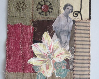 Art Quilt/Quilt/Textile Art/Fabric Collage/Art/Fabric/Sewing/Embroidery/Stitching/Wallhanging/Vintage Textiles/Vintage Photos/Fiber/Recycled