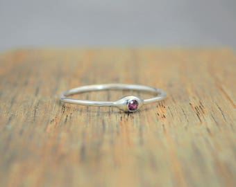 Dainty Silver Ruby Mothers Ring, Ruby Birthstone, Tiny Ruby Ring, Dew Drop Ring, Sterling Silver, Stacking Ring, July Birthday Gift