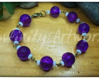 Linked beaded purple bracelet
