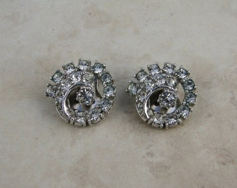 Vintage Ledo Rhinestone Art Deco Style Clip Earrings, Wedding Jewelry
