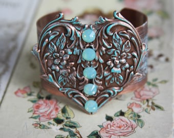 With All My Heart and Soul/Cuff Bracelet/Swarovski Crystals/Aqua Patina on Copper/Unique gift