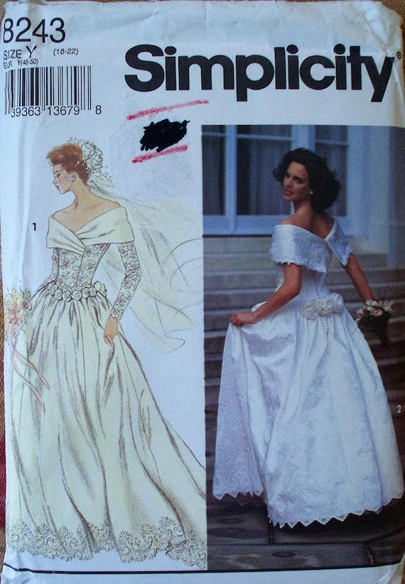 Wedding Dress Pattern Size 18 20 22 Bust 40 42 44 Simplicity 8243 ...