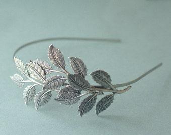 Leaf headband bridal silver leaves head piece neoclassical branch Grecian goddess nature wedding hair