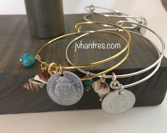 Expandable Costa Rica Coin Bangle/  - QTY 1