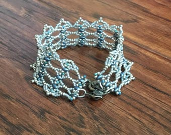 OOAK Silver and Sapphire Blue Beadwoven Cuff Braclet
