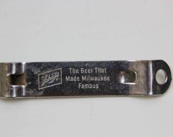 Schlitz Beer Bottle Opener Beer Memorabilia Church Key Opener 1960's  Milwaukee WI Wisconsin #49