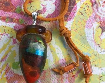Glass Vessel Pendant with Suede Cord -- Collage Vessel -- Lampwork Amber and Green Glass