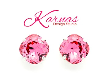 INDIAN PINK 10mm Cushion Cut Stud or Post Earrings Made With Swarovski Elements *Pick Your Finish *Karnas Design Studio *Free Shipping*