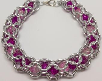 Breast Cancer Awareness Beaded Capture Bracelet