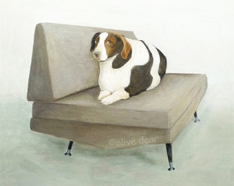 Mid century chair with big dog - fine art pigment print of an original painting by Olive Dear, on quality heavy weight edition paper
