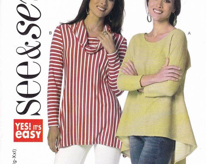 Free Us Ship Sewing Pattern Butterick 6118 Easy See & Sew Out of Print tunic Tops Size 4/26 Bust 29-46 Factory Folded