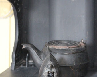 Still Life Photograph, Cast Iron Antique Clothing Press on Glenwood Double Oven, Picture for your Kitchen Decor