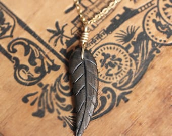 Black angel wing necklace, black feather necklace, hematite necklace, 14k gold filled, bohemian necklace, boho necklace, gift for her