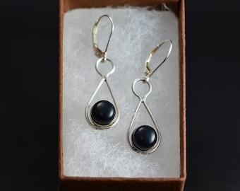 Sterling Silver Earings with black ebony.