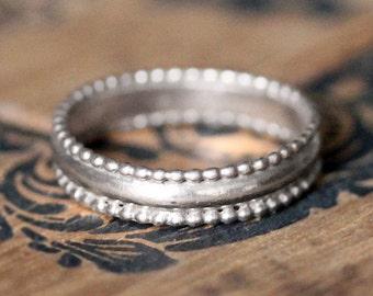 14k White gold wedding band, vintage wedding band style, 14k gold ring, white gold band, recycled gold wedding band, lace unique custom made