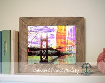 Golden Gate Bridge San Francisco - Reclaimed Barnwood Framed Print - Ready to Hang - Sizes at Dropdown