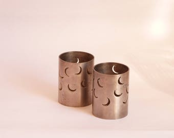 Set of 2 candle holder - Silver Moon - Small candle holder