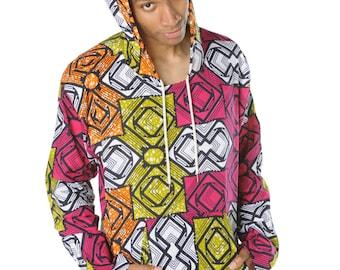 African Hoodie - Hamed Hoodie - Colourful Hoodie - African Wax Print - Festival Clothing - African Clothing - African Shirt