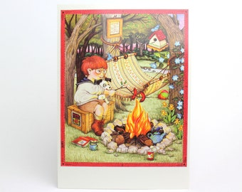 Vintage 1992 Mary Engelbreit Friendship Greeting Card - Campfire - When I Need Someone, You're Always There - Friendship Best Friend Camping
