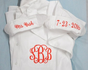 Bride's Shirt, Bride Button Down Shirt, Personalized Bride Shirt, Getting Ready Shirts, Monogrammed Shirt, I Do Shirt, Wedding Day Shirt