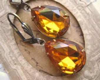 """citrine earrings, citrine statement earrings, Anna Wintour, earrings, fall earrings, vintage earrings. """"Divine"""""""